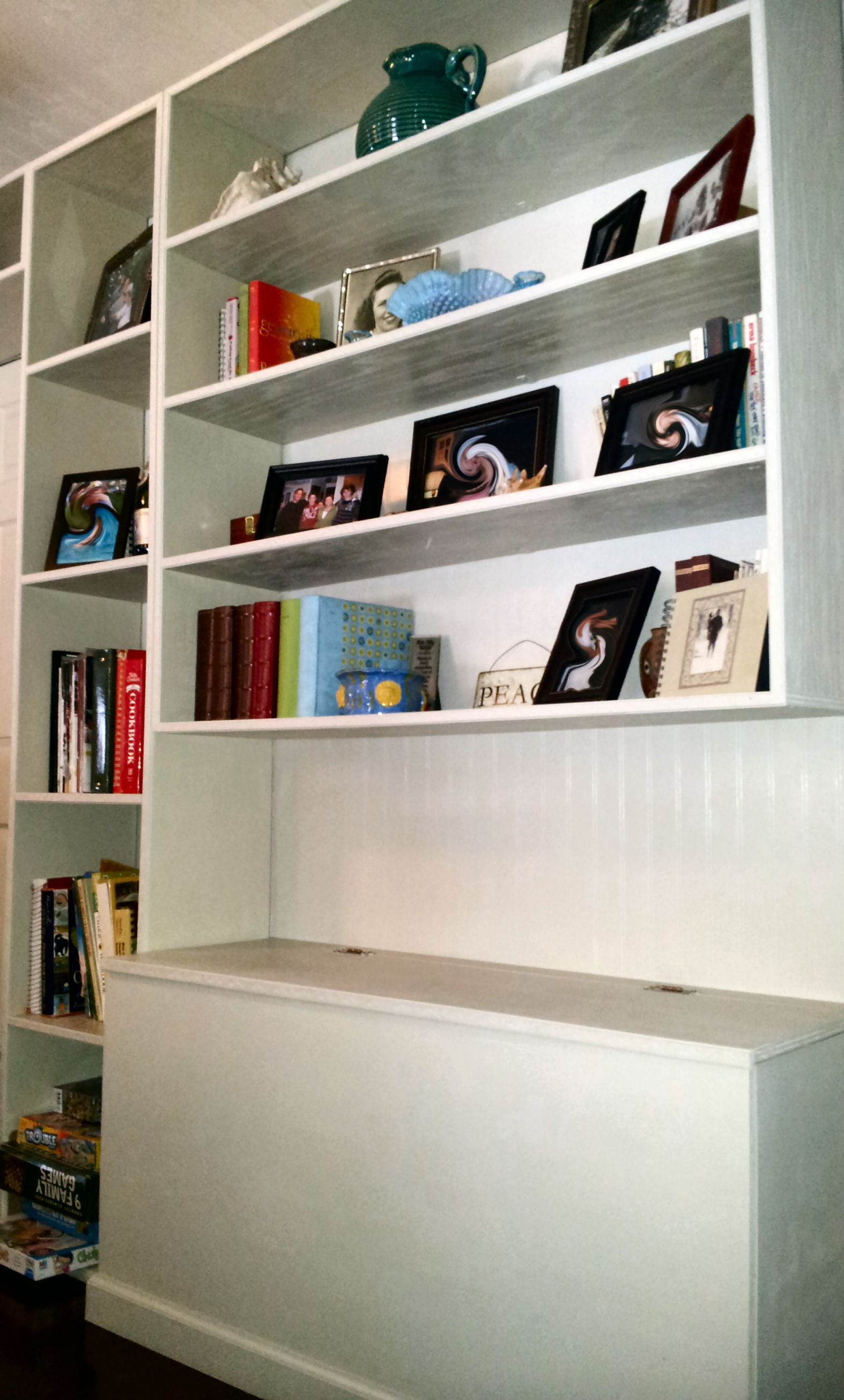 Book shelves and benches