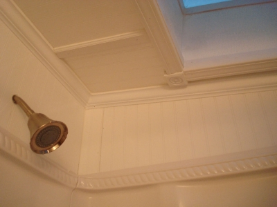 Ceiling treatment for skylight above shower