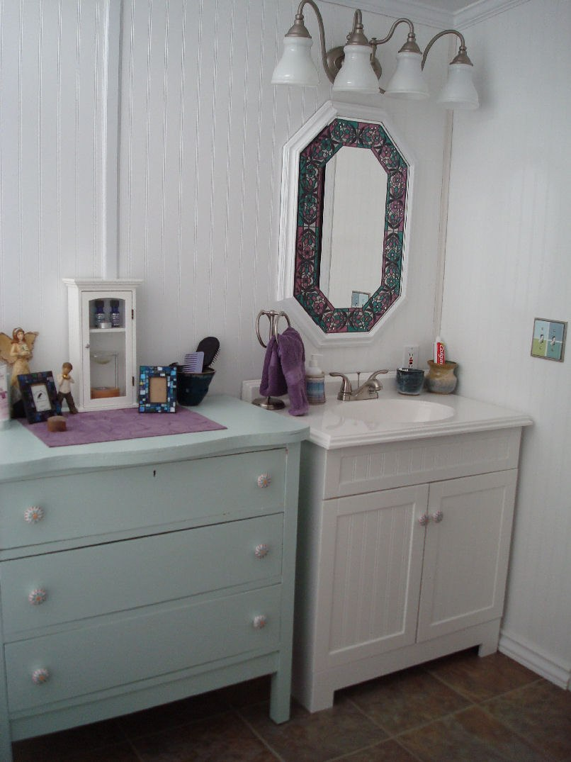 Mobile home bathroom redux my mobile home makeover - Manufactured home bathroom vanity ...