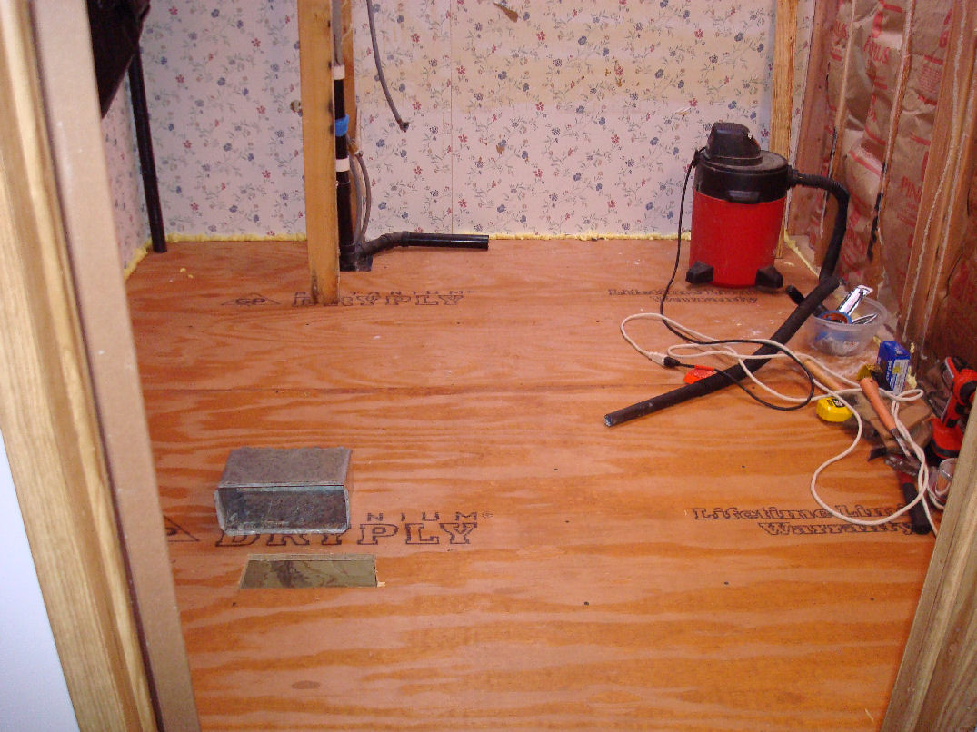 Mobile Home BathroomRedux My Mobile Home Makeover - Plywood for bathroom subfloor