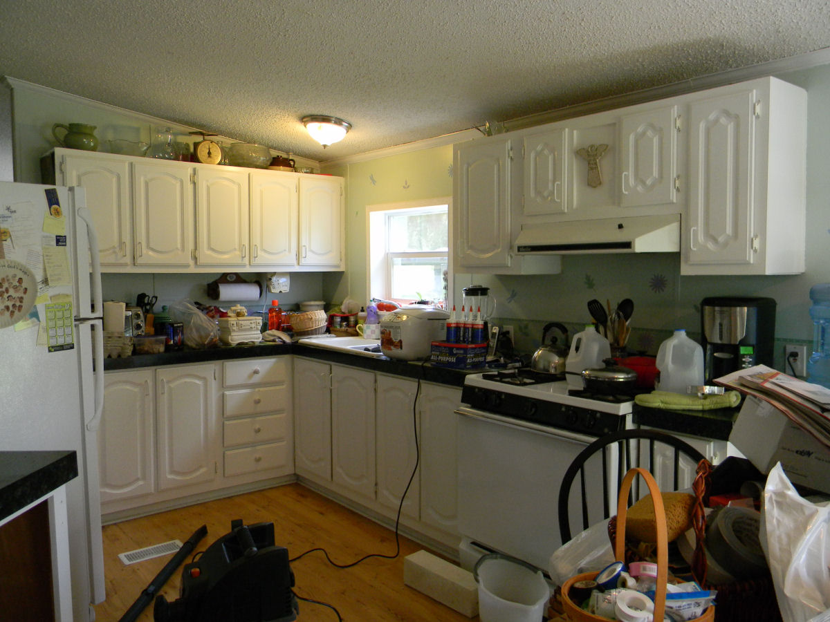 First kitchen remodel my mobile home makeover for Remodeling old homes
